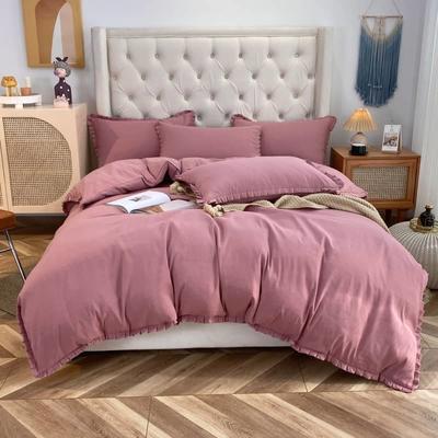 2021韩版双层花边四件套 1.5米床单款四件套 灰色