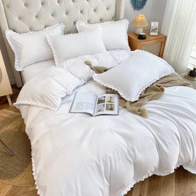 2021韩版双层花边四件套 1.5米床单款四件套 白色