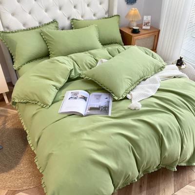 2021韩版双层花边四件套 1.5米床单款四件套 草绿