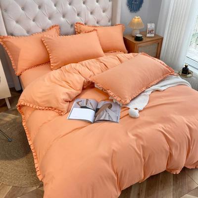 2021韩版双层花边四件套 1.5米床单款四件套 橘色