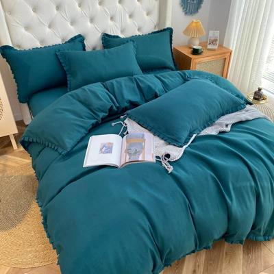 2021韩版双层花边四件套 1.5米床单款四件套 墨绿