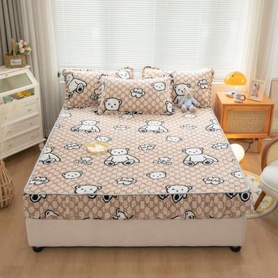 2021新款牛奶绒花边印花床笠 0.9m*2.0m 单件床笠 可爱熊