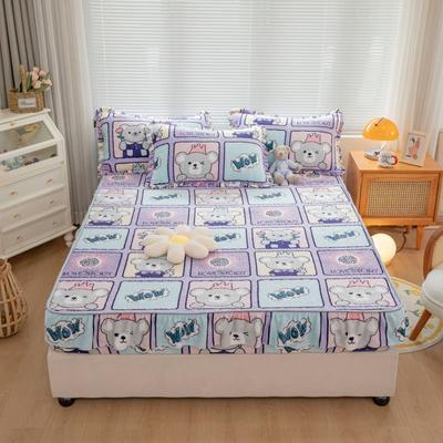 2021新款牛奶绒花边印花床笠 0.9m*2.0m 单件床笠 童年时代