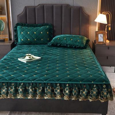 2021新款水晶绒蕾丝绒床笠 0.9m*2.0m 单件床笠 墨绿