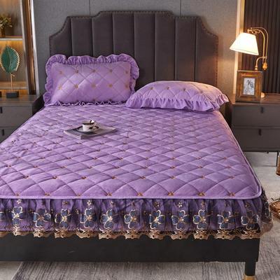 2021新款水晶绒蕾丝绒床笠 0.9m*2.0m 单件床笠 浅紫