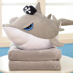 鲨鱼三合一抱枕毯 公仔65X40cm(毯子100X170) 凶眼