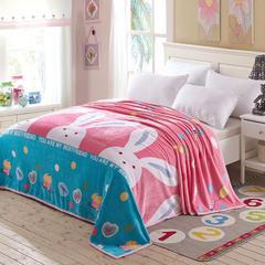 350克超柔加厚云貂绒毛毯法莱绒毛毯 床单盖毯 总 120x200cm 大白兔