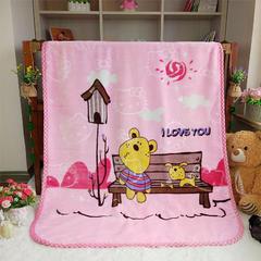 儿童双层云毯系列超柔加厚云貂绒毛毯法莱绒毛毯 床单盖毯 总 100(±5)x130(±5)cm 笨笨熊 粉