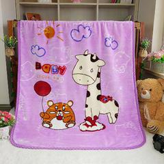 儿童双层云毯系列超柔加厚云貂绒毛毯法莱绒毛毯 床单盖毯 总 100(±5)x130(±5)cm 长劲鹿 紫