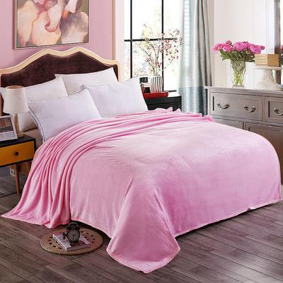 350克纯色赋雅家纺 350克超柔加厚云貂绒毛毯法莱绒毛毯 床单盖毯 总 120x200cm 粉色