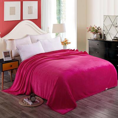 350克纯色 350克超柔加厚云貂绒毛毯法莱绒毛毯 床单盖毯 总 120x200cm 玫红