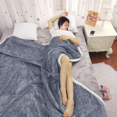 加厚被毯 三层复合毯 加厚双层毛毯 法莱绒毯子 床单 冬被子 70cmX100cm 灰色