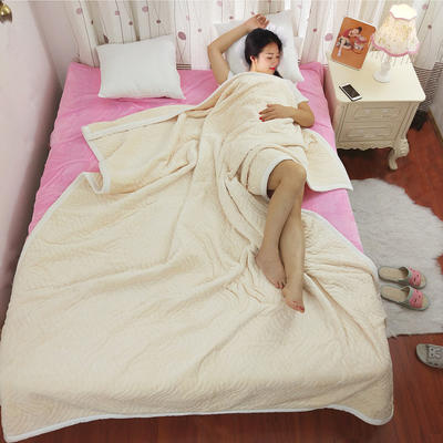 简约被毯 三层复合毯 加厚双层毛毯 法莱绒毯子 床单 冬被子 70cmx100cm 米黄