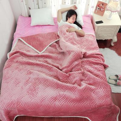 加厚被毯 三层复合毯 加厚双层毛毯 法莱绒毯子 床单 冬被子 70cmX100cm 豆沙