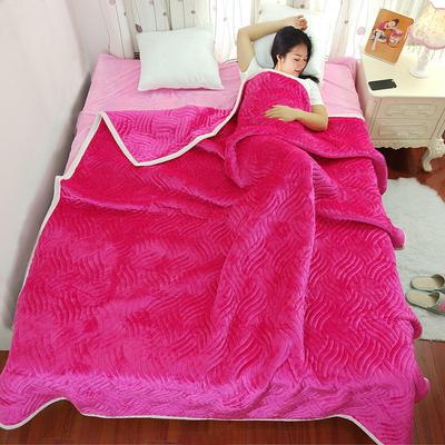 加厚被毯 三层复合毯 加厚双层毛毯 法莱绒毯子 床单 冬被子 70cmX100cm 玫红