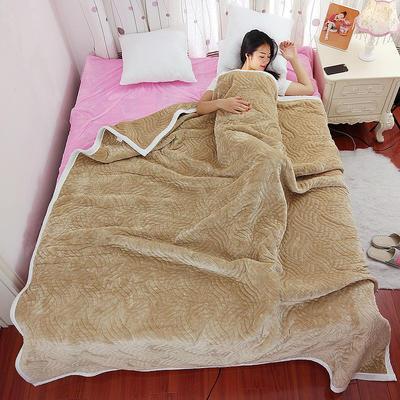 加厚被毯 三层复合毯 加厚双层毛毯 法莱绒毯子 床单 冬被子 70cmX100cm 驼色
