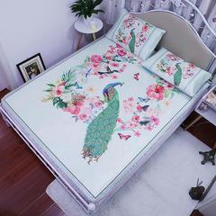 三明治大版 高清数码印花冰丝席 折叠软空调凉席3D透气底布 1.2m(4英尺)床 孔雀