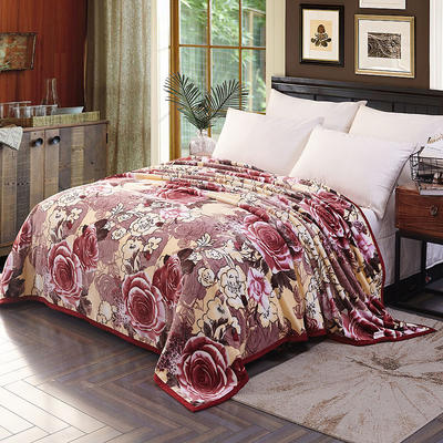 双面绒毯子超柔加厚云貂绒毛毯法莱绒毛毯 床单盖毯 48cmX74cm拉链枕套一只 花团锦簇