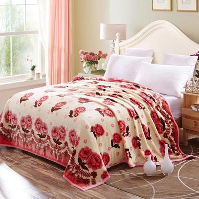 双面绒毯子超柔加厚云貂绒毛毯法莱绒毛毯 床单盖毯 48cmX74cm拉链枕套一只 花语迷情