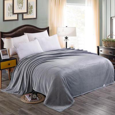 双面绒毯子超柔加厚云貂绒毛毯法莱绒毛毯 床单盖毯 48cmX74cm拉链枕套一只 灰色