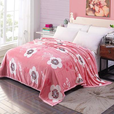 双面绒毯子超柔加厚云貂绒毛毯法莱绒毛毯 床单盖毯 48cmX74cm拉链枕套一只 盛世花开