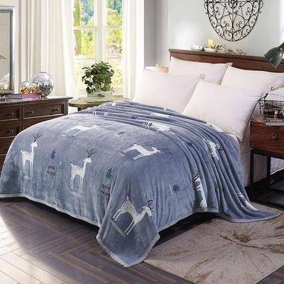 双面绒毯子超柔加厚云貂绒毛毯法莱绒毛毯 床单盖毯 48cmX74cm拉链枕套一只 小鹿