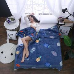 350克  双面绒毯子超柔加厚云貂绒毛毯法莱绒毛毯 床单盖毯 70cmX100cm随机花型 数量有限 彩色菠萝