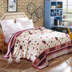 350克  双面绒毯子超柔加厚云貂绒毛毯法莱绒毛毯 床单盖毯 180cmx200cm 星月神话