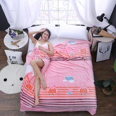350克  双面绒毯子超柔加厚云貂绒毛毯法莱绒毛毯 床单盖毯 70cmX100cm随机花型 数量有限 快乐家族