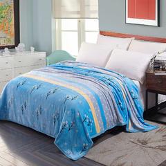 350克  双面绒毯子超柔加厚云貂绒毛毯法莱绒毛毯 床单盖毯 200cmx230cm 幸运草蓝
