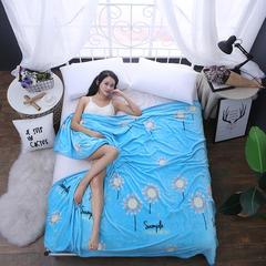 350克  双面绒毯子超柔加厚云貂绒毛毯法莱绒毛毯 床单盖毯 150cmX200cm 向阳花开