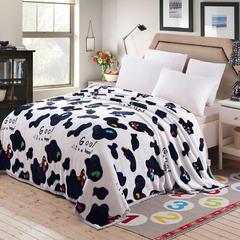 350克  双面绒毯子超柔加厚云貂绒毛毯法莱绒毛毯 床单盖毯 200cmx230cm 奶牛