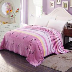 350克  双面绒毯子超柔加厚云貂绒毛毯法莱绒毛毯 床单盖毯 180cmx200cm 幸运草紫