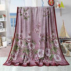 赋雅家纺  双面绒毯子超柔加厚云貂绒毛毯法莱绒毛毯 床单盖毯 70X100cm随机花型 数量有限 百花盛开