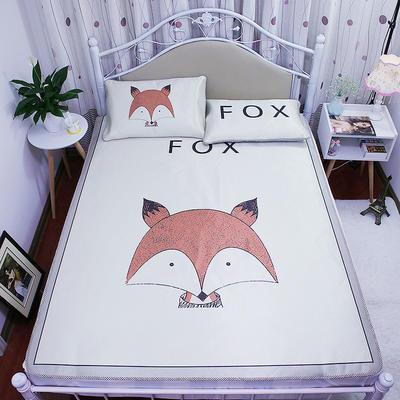高清大版数码印花冰丝席空调席凉藤席三明治透气防滑 软席三件套 1.2m(4英尺)床 FOX