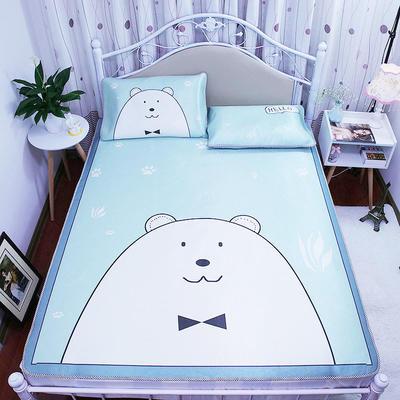 高清大版数码印花冰丝席空调席凉藤席三明治透气防滑 软席三件套 1.2m(4英尺)床 白熊