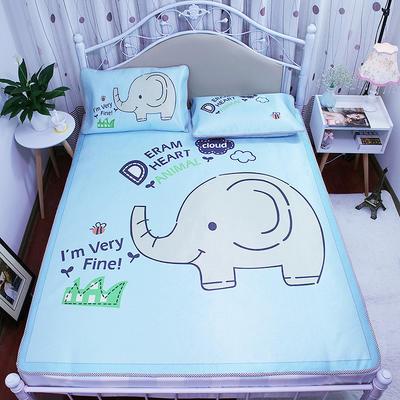 高清大版数码印花冰丝席空调席凉藤席三明治透气防滑 软席三件套 1.2m(4英尺)床 大象