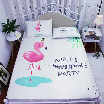 高清大版数码印花冰丝席空调席凉藤席三明治透气防滑 软席三件套 1.2m(4英尺)床 可爱的火烈鸟