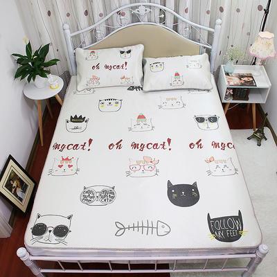 高清大版数码印花冰丝席空调席凉藤席三明治透气防滑 软席三件套 1.2m(4英尺)床 猫聚会