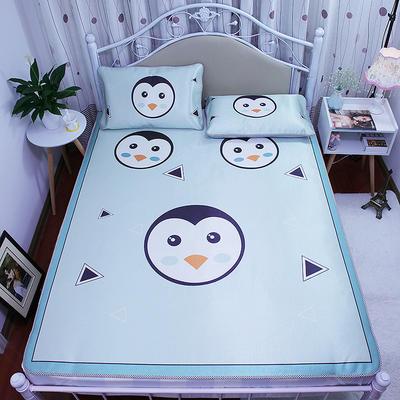 高清大版数码印花冰丝席空调席凉藤席三明治透气防滑 软席三件套 1.2m(4英尺)床 企鹅宝宝