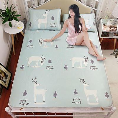 高清大版数码印花冰丝席空调席凉藤席三明治透气防滑 软席三件套 1.2m(4英尺)床 小鹿