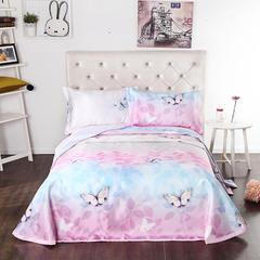 2019新款床单款冰丝席三件套 230*250cm 艾米丽粉
