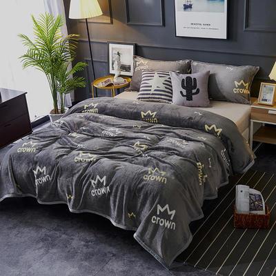 双面绒毯子超柔加厚云貂绒毛毯法莱绒毛毯 床单盖毯 48cmX74cm拉链枕套一只 皇冠