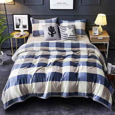 双面绒毯子超柔加厚云貂绒毛毯法莱绒毛毯 床单盖毯 48cmX74cm拉链枕套一只 蓝大格