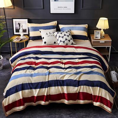 双面绒毯子超柔加厚云貂绒毛毯法莱绒毛毯 床单盖毯 48cmX74cm拉链枕套一只 裸婚条纹
