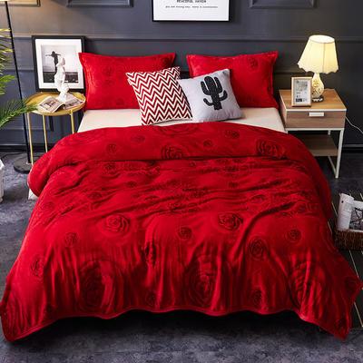 双面绒毯子超柔加厚云貂绒毛毯法莱绒毛毯 床单盖毯 48cmX74cm拉链枕套一只 玫瑰之恋