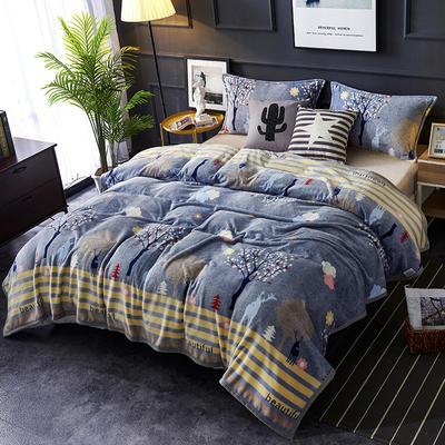双面绒毯子超柔加厚云貂绒毛毯法莱绒毛毯 床单盖毯 48cmX74cm拉链枕套一只 美丽邂逅