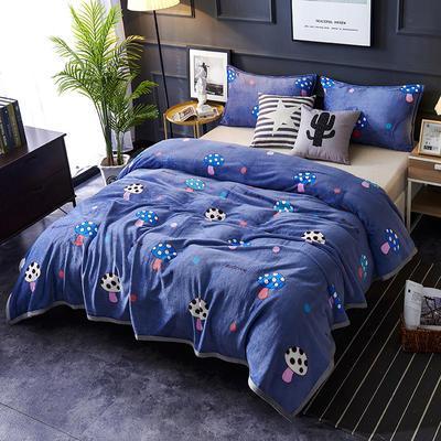 双面绒毯子超柔加厚云貂绒毛毯法莱绒毛毯 床单盖毯 48cmX74cm拉链枕套一只 蘑菇 灰