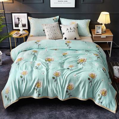 双面绒毯子超柔加厚云貂绒毛毯法莱绒毛毯 床单盖毯 48cmX74cm拉链枕套一只 清新花语