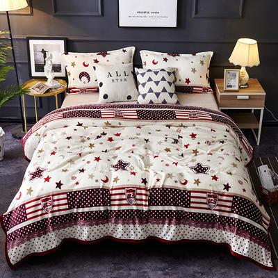 双面绒毯子超柔加厚云貂绒毛毯法莱绒毛毯 床单盖毯 48cmX74cm拉链枕套一只 星月神话
